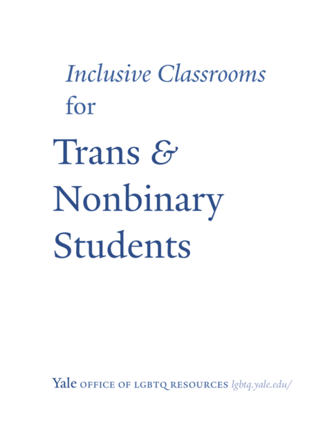 Inclusive Classrooms for Trans & Nonbinary Students guide cover