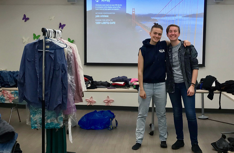 Qloset coordinators at clothing swap event in the Office of LGBTQ Resources cafe